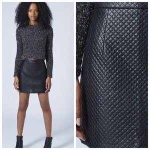 Topshop quilted faux leather skirt mini black