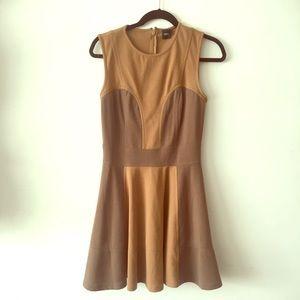 ASOS Brown Tan Sweetheart Dress with Skater Skirt