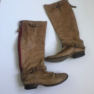 Leather Steve Madden Red Zipper boots