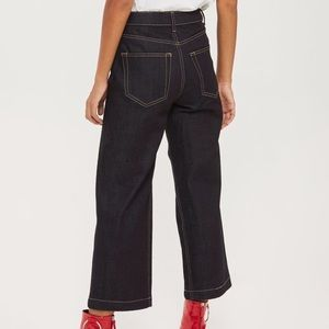 Topshop Jeans - Topshop Moto Raw Denim Cropped Wide Leg Jean
