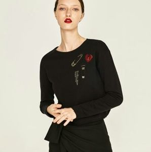 ZARA Cropped New Sweater With Patches