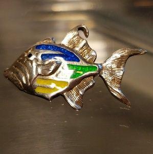 Kabana Rare Sterling Silver & Enamel Fish Pendant