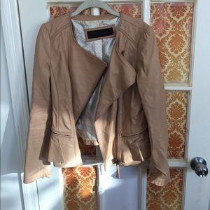 Tan Lambskin Leather Jacket w/ ruffle detail -Zara
