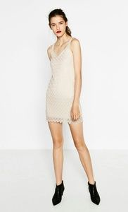 ZARA Pink Crochet Lace Lined New Mini Dress Size M