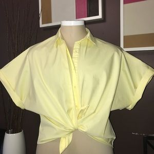 ZARA yellow poplin button up