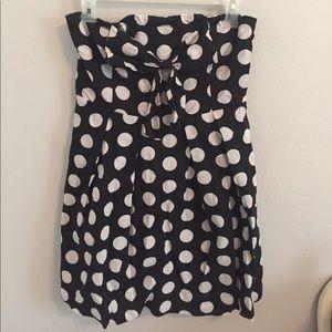 Polka dot strapless dress