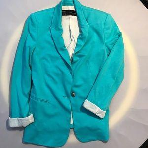 Zara Basic Turquoise Lined Blazer