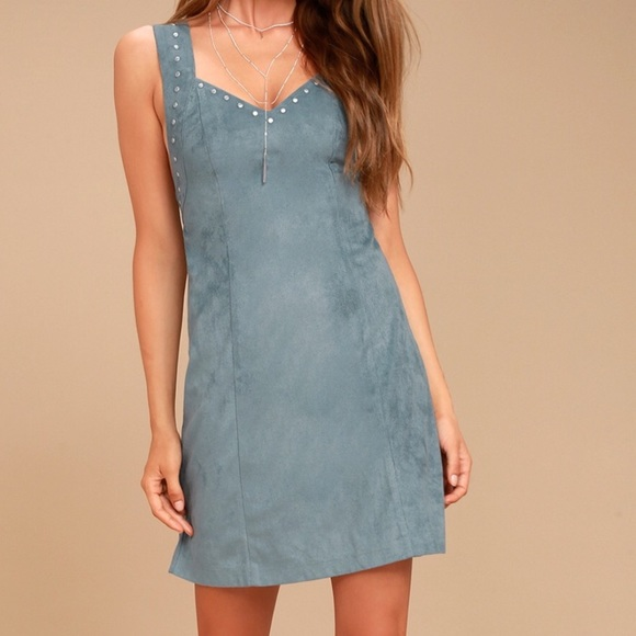 Somedays Lovin Dresses & Skirts - Blue Faux Suede Mini Dress
