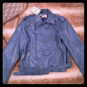 NWT Zara Grungy Baby Blue Belt Faux Leather Jacket