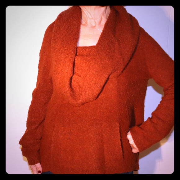 Anthropologie Sweaters Burnt Orange Cowl Neck Sweater Poshmark