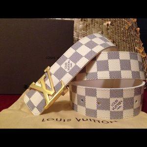 White Damien Louis Vuitton belt 30-40 waist men
