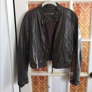 Grey Bomber Faux Leather Jacket Zara
