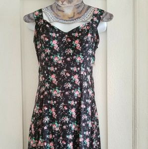 80s Vintage Black dress with Pink Flowers