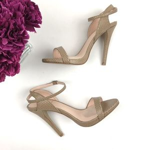 Shoedazzle Tan Snake Print Colby Strappy Heels