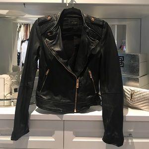 Black real Italian leather Balenciaga style jacket