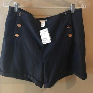 H&M linen navy shorts size 14