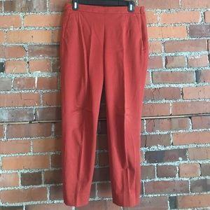 JCrew Martie slim crop stretch pant. Burnt red.
