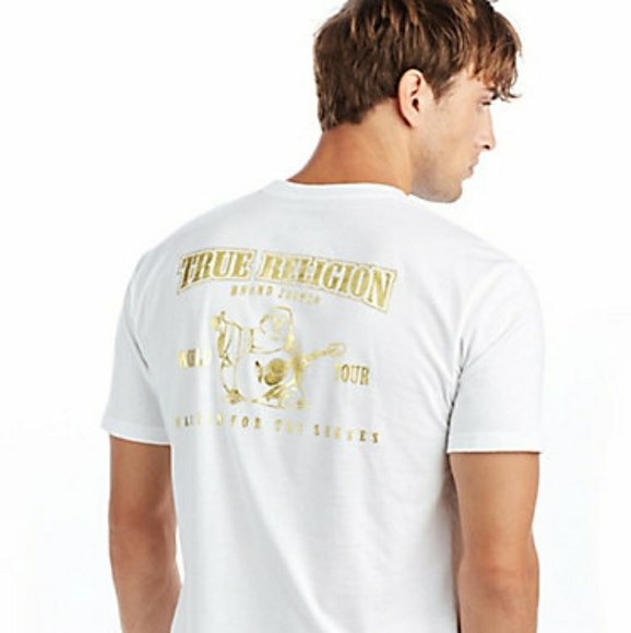 e6218a01f True Religion Shirts | Metallic Gold Buddha Puff Mens Tee | Poshmark