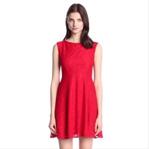 French Connection Lizzie Red Fit & Flare Dress 8