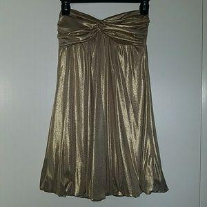 Forever 21 Gold Shimmery Strapless Dress Size Sml