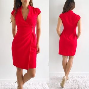 Calvin Klein Crepe Wrap Red Dress