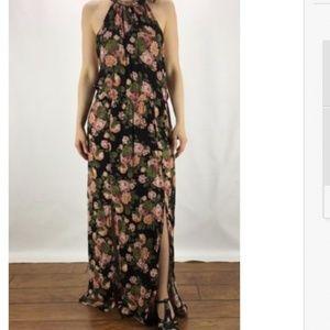 AEO Floral Double Slit Tie Back Maxi Dress NWOT L