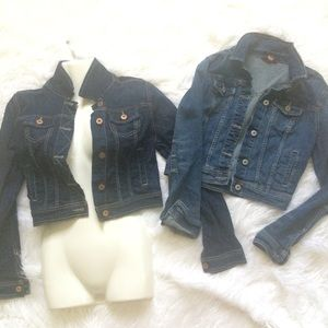 2💗STRETCH CUTE DENIM CROP JEAN JACKET BLUE💗S-M