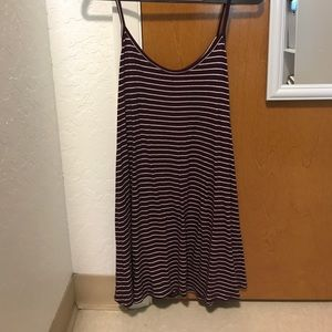 Maroon and white striped dress