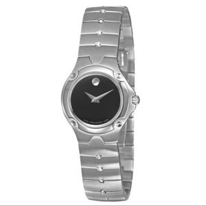 MOVADO Sports Edition silver band black face w/box