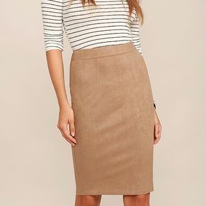 Lulus suede camel midi skirt size small
