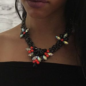 Jewel chrome neon metal chunky statement necklace
