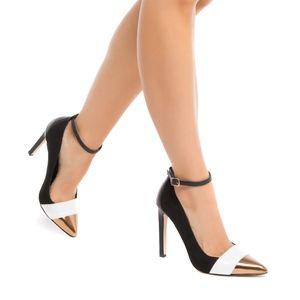 Shoedazzle Black Gold Ankle Strap Yves Pumps