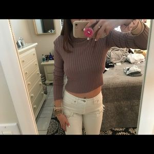 Cropped high neck top