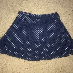 blue and white polka dot skirt