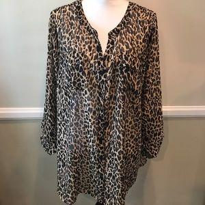 Lane Bryant Leopard Print Polyester Long Sleeve