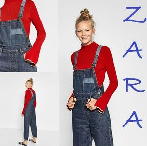 ZARA Mom Fit Jean Dungarees Wide Straps New Romper