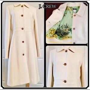 J. CREW Lady Day Coat Italian Wool Vanilla 10 $350