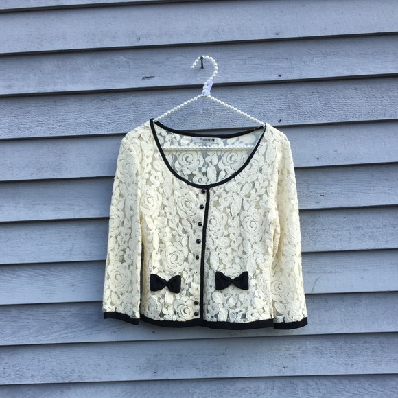 60% off Forever 21 Sweaters - Off White Lace Cardigan w Black ...