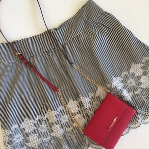 Anthropologie A-line Embroidered Mini Skirt