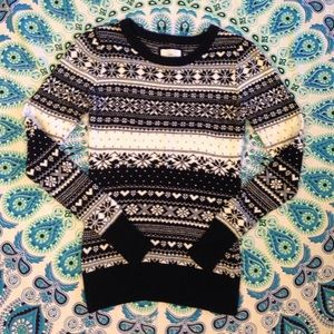 LOGG S Navy Blue and White Fair Isle Sweater