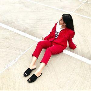 Vintage red denim jacket.