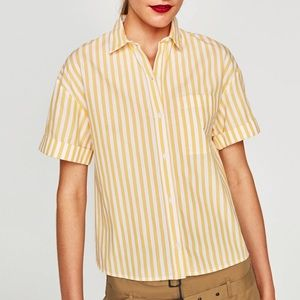 Zara Yellow Stripe Button Down