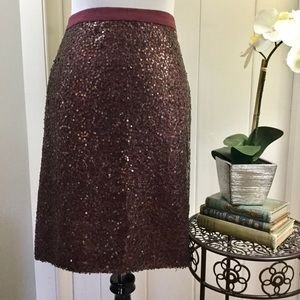 J CREW Brown Sequin Party Pencil Skirt