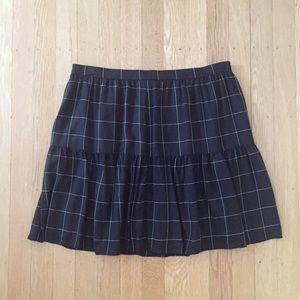 Windowpane Ruffle Hem Mini Skirt