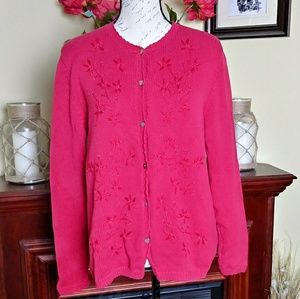 Lands' End red Christmas sweater
