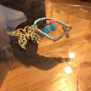 Jewelry - A Cross Bracelet, butterfly brooch& a flower set