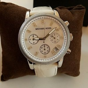 Michael Kors white leather band watch