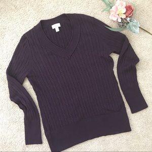 LOFT cable knit dark purple v-neck chunky sweater