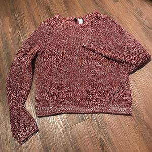 Cable Knit Burgundy Sweater - Medium