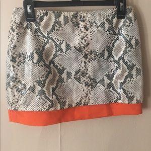 Tobi faux snakeskin mini skirt